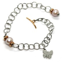 REBECCA BRONZE BRACELET, ROLO, BUTTERFLY, PURPLE PEARLS, MADE IN ITALY image 1