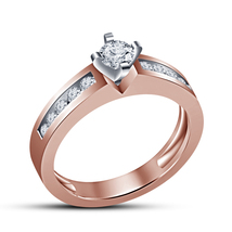Sim Diamond Round 14k Rose Gold Plated 925 Silver Women's Solitaire Wedding Ring - $67.99