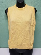 Saks Fifth Avenue Vintage Cardigan Sweater Yellow Size Small cotton AI - $26.99