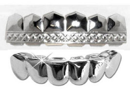 Silver Mouth Teeth Grillz Upper Top & Lower Bottom Set - T-Pain 054 - $14.01