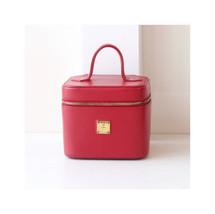 MCM Red Leather Beauty Case Authentic Vintage Handbag Train Case - $300.00