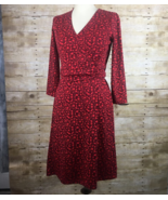Lands End Womens A Line Dress Red Stretch Geometric Pattern Ruched Waist... - $11.29