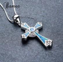925 Sterling Silver Filled Blue Fire Opal Cross Pendant Necklace [PEN-240] - $19.80