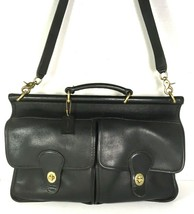 Coach Vintage Black Leather Briefcase Messenger Bag Detachable Strap-Mad... - $164.89