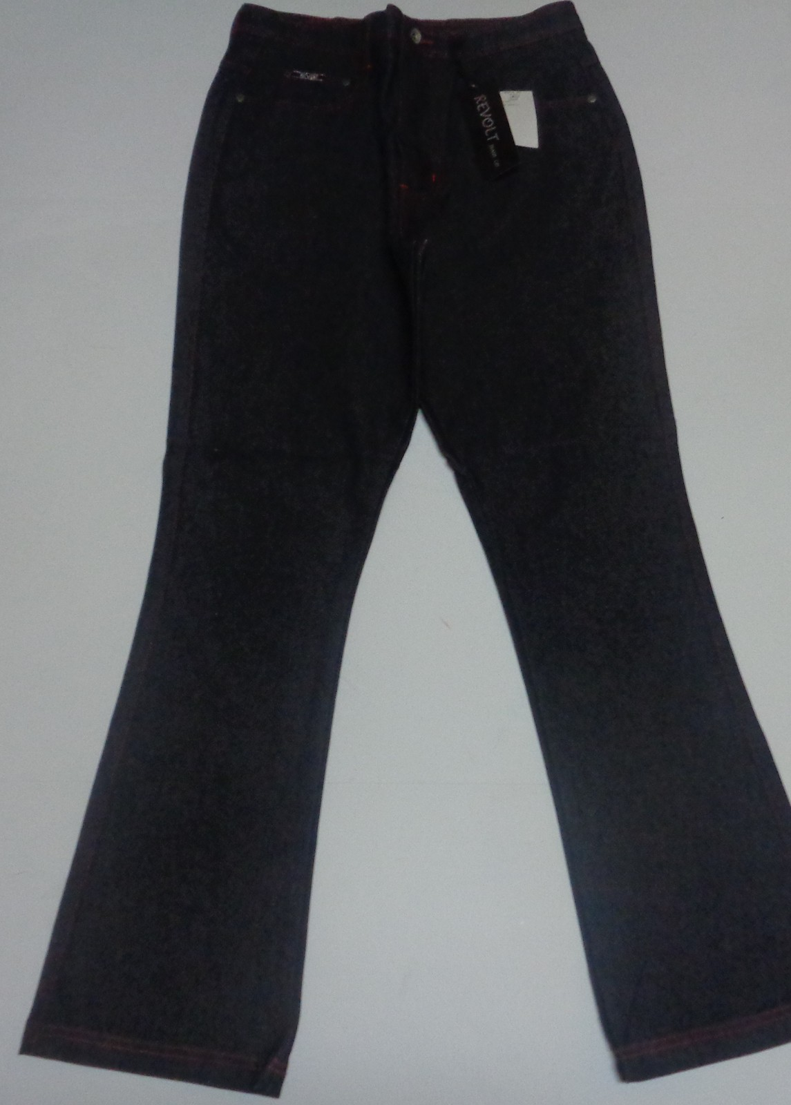 Women's Revolt Boot Cut Jeans Black Sz 14 Embroidered Pockets NWT