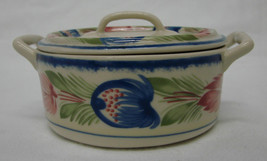Pottery Covered Bowl Decorative Flower Floral Handled Crock Dish - $26.43
