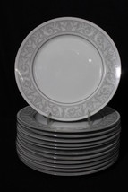 """12pc Vintage Imperial CHina WHITNEY #5671 Gray/White 10"""" Dinner Plates, ... - $119.99"""