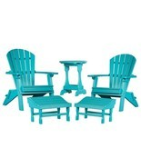 5 PIECE ARUBA BLUE PATIO SET 2 Folding Adirondack Chairs, 2 Ottomans & T... - £732.21 GBP