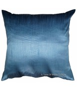 "Blue 24"" Cushion Cover Dupioni Silk Sofa Throw Pillow Case Indian Bohemi... - $9.89"