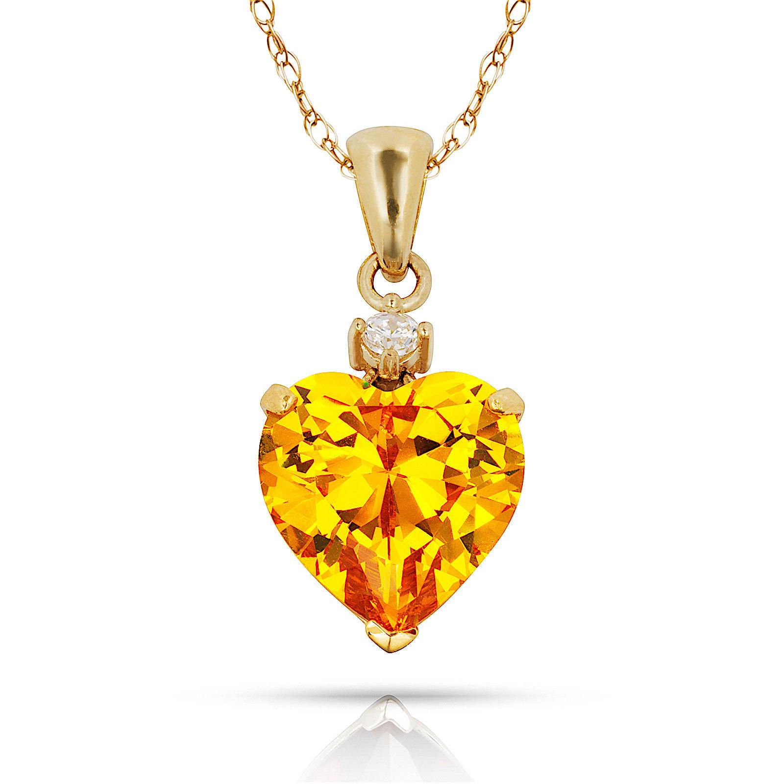 3.07Ct Created Diamond & Heart Citrine Charm Pendant14K Yellow Gold w/Chain