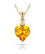 3.07Ct Created Diamond & Heart Citrine Charm Pendant14K Yellow Gold w/Chain - $68.88+