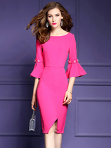 New Ruffled Sleeve Slit Wrap Dress - $45.99