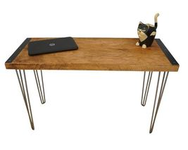 Farmhouse Style Office Desk, Reclaimed Wood With Hairpin Legs - $445.00
