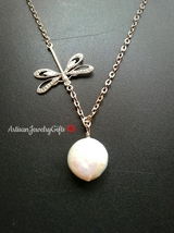 Silver Dragonfly Necklace White Coin Pearl Lariat Necklace Dragonfly Nec... - $48.00+