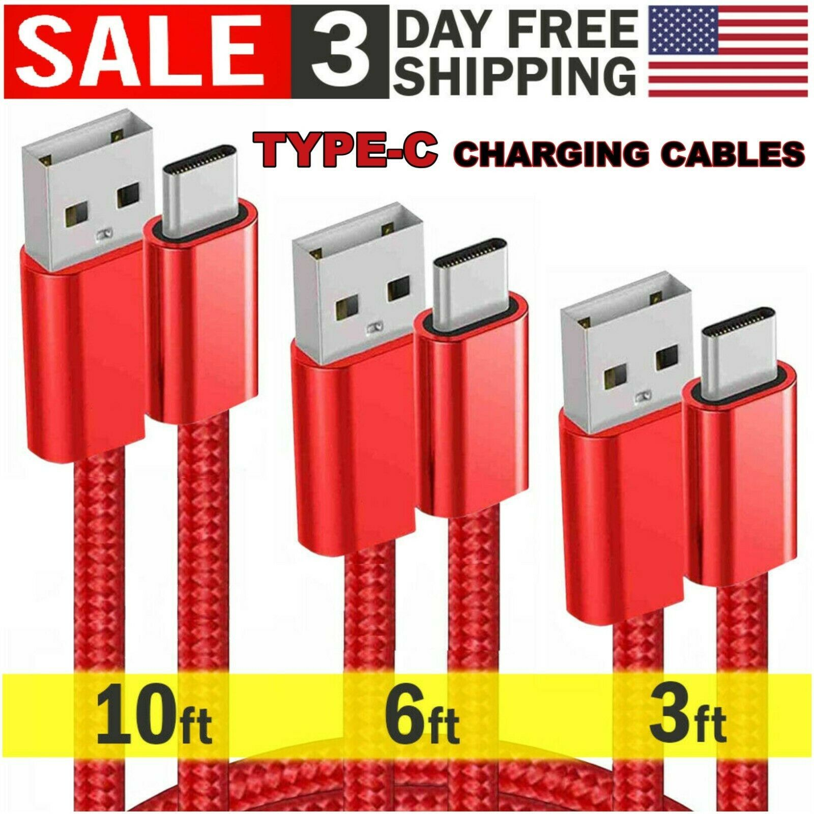 3 Pack Type-C USB Cable Cord Fast Charge 10ft 6ft 3ft Data Transfer Sync Android - $10.39