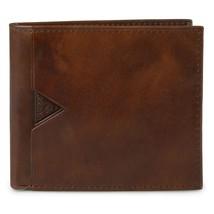 New Guess Men's Leather Billfold Wallet Zipper Coin Cash Pocket Tan 31GU130015