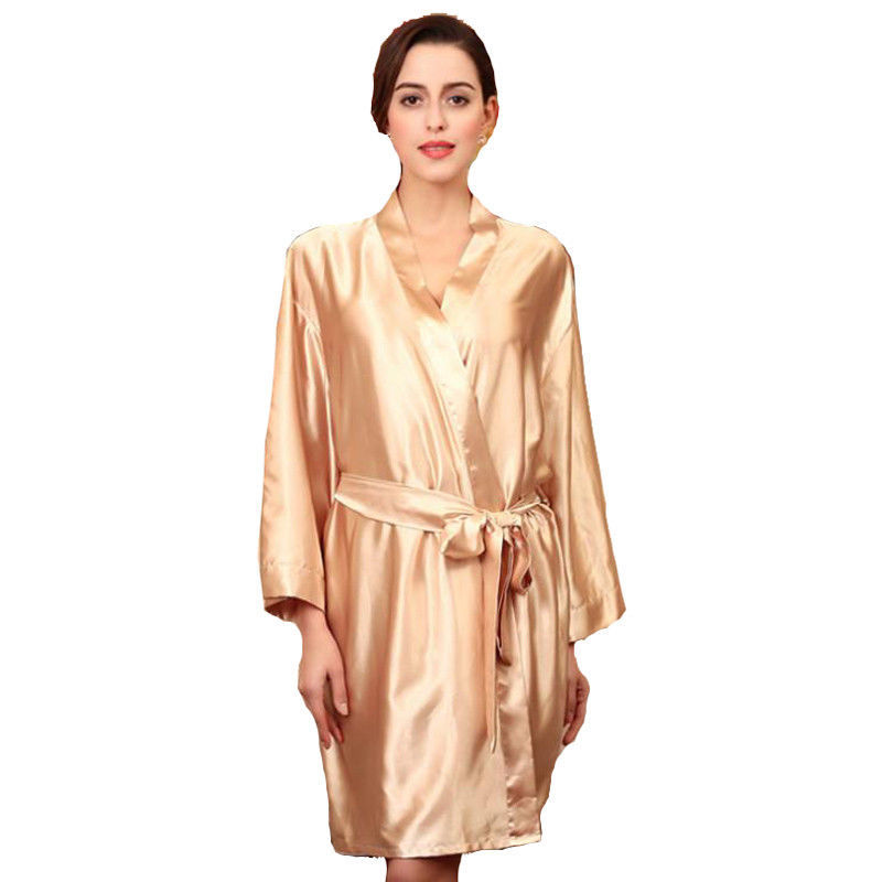 Primary image for Big Size Lounge Robe Rayon Gown Satin Kimono Nightgown Loose Sleepwear Gold