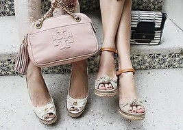 Tory Burch Macy Beige Canvas Leather Wedge Espadrille Sandal Gold Wash S... - $124.91