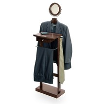 Standing Valet Clothes Hanger Organizer Bedroom Mens Rack Wooden Stand M... - $91.62