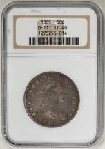 1805 50C Overton 111 Draped Bust Half Dollar NGC XF40 Certified US Rare ... - $1,775.00