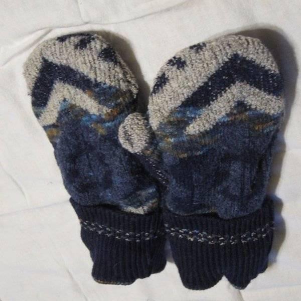 Recycled Handmade Wool Ladies Teens Mittens Navy/Tan/ Size M/L