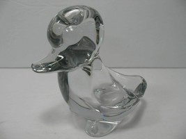 Vintage Vannes Art Glass Duck France Clear Paperweight Ashtray? - $9.74