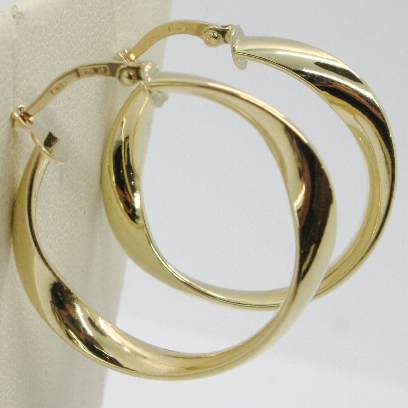 18K YELLOW GOLD PENDANT CIRCLE HOOPS ONDULATE TWISTED EARRINGS, MADE IN ITALY
