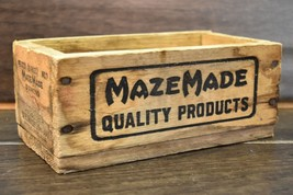 """Vintage MazeMade Wooden Box Wood Glazing Points Antique 7"""" Rustic Home D... - $9.89"""