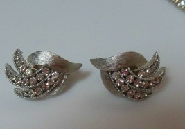 Vintage Crown Trifari Brushed Silver-tone Rhinestone Leaf Earrings   - $26.72