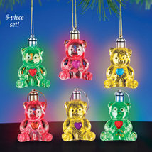 LED Colorful Lighted Bear Ornaments Set with Rhinestone Heart Gem, 6 Pc - $18.74