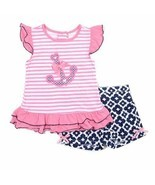 Girls size 4. 5 or 6X Nannette 2 piece sleeveless pink anchor tank & sho... - $12.99