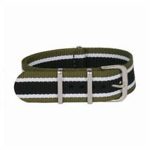 20mm X 255mm Nato Canvas Nylon wrist watch Band strap GREEN WHITE BLACK P2 - $11.73