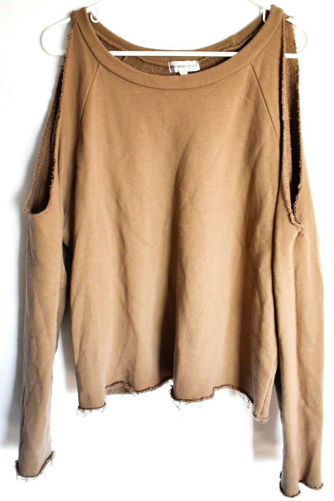 Ash Rain + Oak Brown Raw Hem Cold Shoulder 100% Cotton Pullover Sweatshirt S