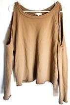 Ash Rain + Oak Brown Raw Hem Cold Shoulder 100% Cotton Pullover Sweatshirt S image 1