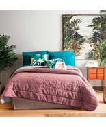 Pink and Grey Palms Reversible Comforter King Size Soft Bedspread Leaves 4PCS - $178.20