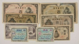 1930-1953 Japan 8-Notes Currency Set / Domestic Banknotes & WW2 Allied M... - $49.50