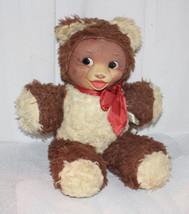 "Vintage Gund Bear ""Sitting Bear"" Stockingnet Linen Painted Face Unusual 15"" - $74.25"