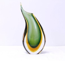 "Mid Century Modern 10"" TEARDROP VASE Multicolor SOMMERSO Art Glass - $53.46"