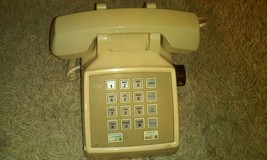 VTG Cream Desk Push Button AT&T Telephone Made In USA Great Prop Receive... - $18.69