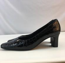 Nordstrom Black Patent Leather Alligator Print Pumps Women's Size 8N - $14.21