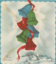 Vintage Christmas Card Red Blue Green Bells Snowy Village 1950's - $6.92