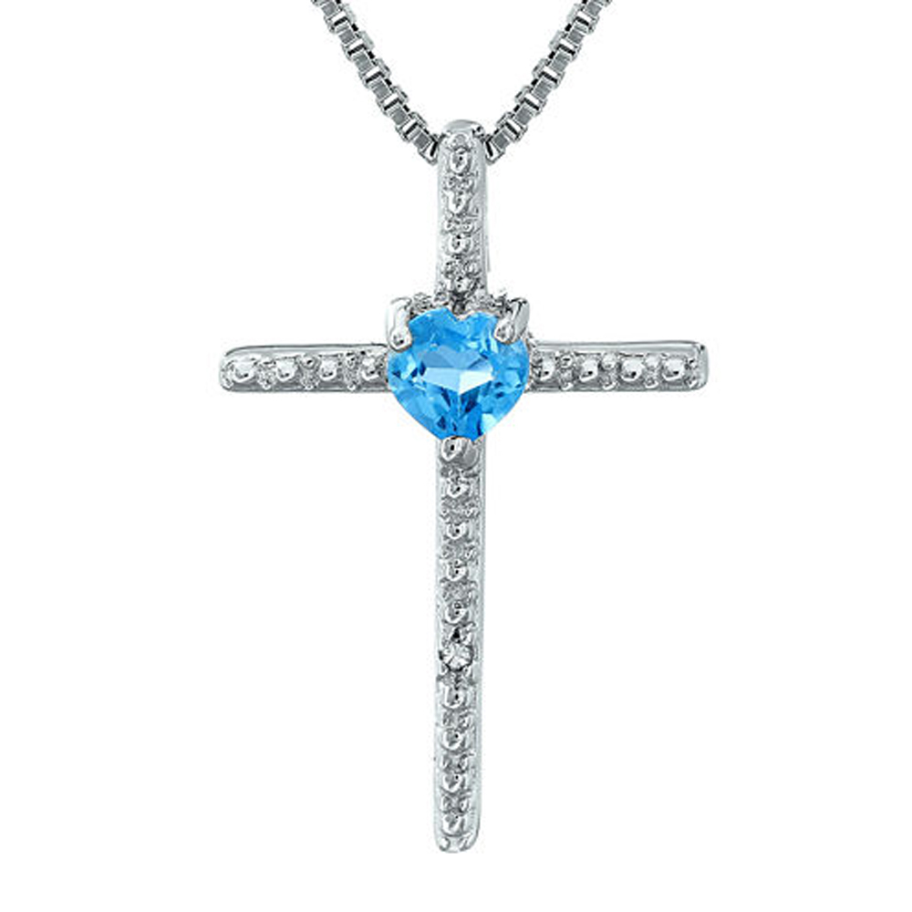 Primary image for Blue Topaz & Sim.Diamond Accent 14K White Gold Fn Cross & Heart Pendant Necklace