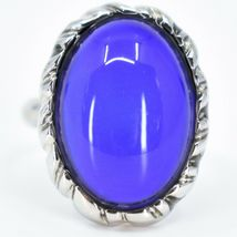 Classic Silver Tone Oval Cabochon Color Changing Adjustable Mood Ring image 6