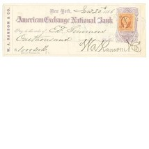 1866 RN-B13 + R6c American Exchange National W.A. Ransom & Co. Check New... - $69.00