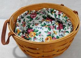 Longaberger 1995 Darning Basket Pink Yellow Roses White Cloth Liner Roun... - $42.63