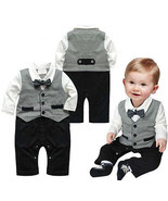 Toddler Boy Kids Baby Bowknot Gentleman Romper Jumpsuit Outfit Clothes S... - $8.88