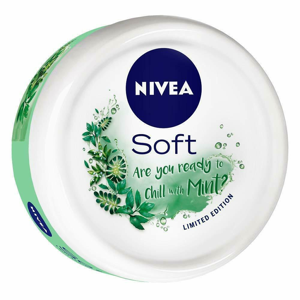 NIVEA Soft Light Moisturizer Cream Chilled Mint With Vitamin E & Jojoba Oil