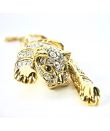 Articulated Rhinestone Tiger Brooch, Leopard Pin, 1980's, Big Cat, Excellent - $48.00