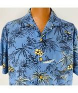 Tommy Bahama Hawaiian Aloha Shirt XL Blue  Floral Palm Trees Hammock Bea... - $49.49