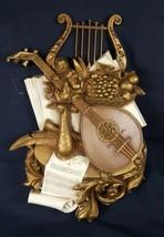 Vintage Syroco 7236 Mid Century Wall Art 1971 Mandoline Harp Art - $24.74
